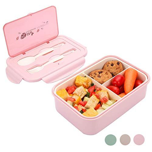 Lunchbox, Bento Boxen, Brotdose, Auslaufsichere Lunch-Boxen Kinder und Erwachsene, Bento Lunch Boxen mit 3 Fächern und Besteck, Lebensmittelbehälter BPA-frei, mikrowellen- und spülmaschinenfest(pink)