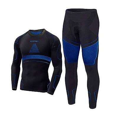 Thermal Underwear for Men Long Johns for Men, Base Layer Men for Cold Weather Black-Blue