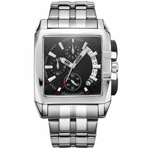 Reloj de cuarzo clásico de los hombres, cronógrafo impermeable de acero inoxidable, relojes de muñeca de moda casual de negocios, cronómetro de la cara grande multifunción, para hombres padre regalo