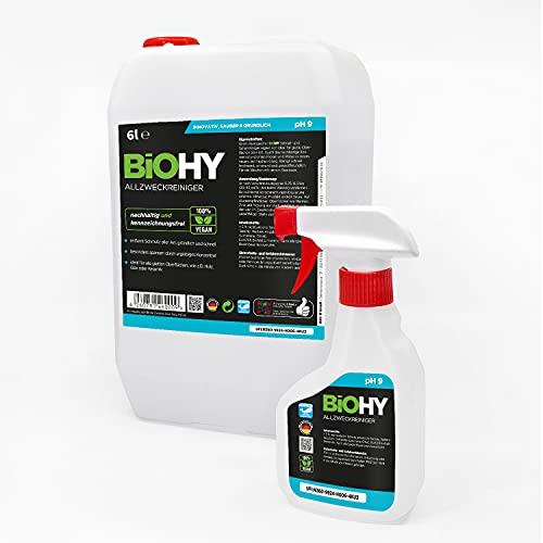 BiOHY Limpiador multiusos concentrado (bidón de 6 litros) + botella pulverizadora y grifo | Limpiador profesional suave – Limpiador universal para el hogar y el coche | completamente biodegradable