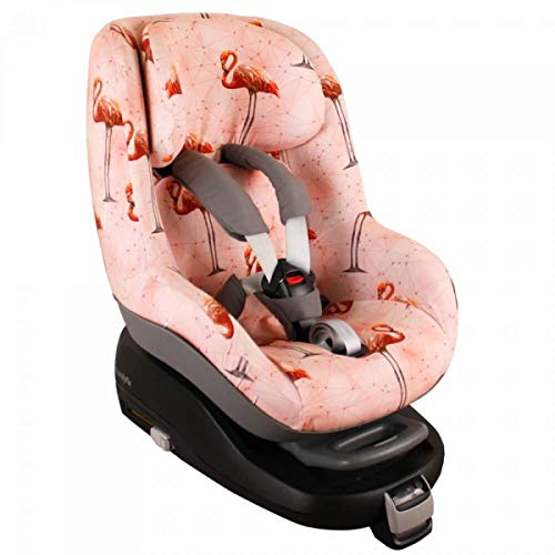 Maxi-Cosi Pearl Bezug Kindersitz von UKJE Auch für 2Way Pearl und Pearl Pro Rosa Flamingo Schweißabsorbierend und weich für Ihr Kind Öko-Tex 100 Baumwolle Recycelbar