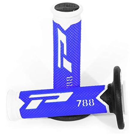 Paire Cross-MX Revetement poignee progrip Off Road 788 Triple densite Base Blanc-Noir-Titane 115mm