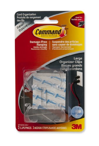 Command 17303CLR-C Cord Organizers, Large, Clear, 2 Clips 3 Medium Strips