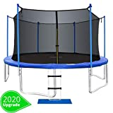 ORCC New Upgrade 15 14 12 10FT Trampoline with Safety Enclosure Net Wind Stakes Rain Cover Ladder,Outdoor Trampoline with TUV Certificated