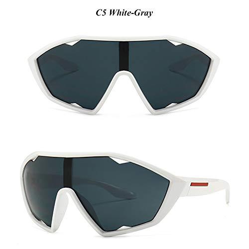 ZJMIYJ zonnebril, winddichte skibrillen zonnebril mannen masker retro punk zonnebril vrouwen spiegel zonnebril vrouwen merk Uv400 bril kleurtinten wit frame