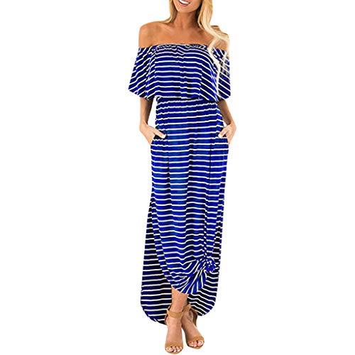 HULKY Summer Strandkleid Für Frauen Elegant Gestreifte Schulter Rüsche Lässig Seitenschlitz Mit Taschen Basic Maxi-Kleid(blau,L)