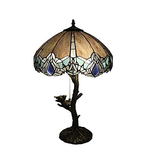 2 Luces Lámpara De Mesa De Estilo Tiffany, W16H25 Creativo Retro Vidrio Targhade 2 Luces Habitación