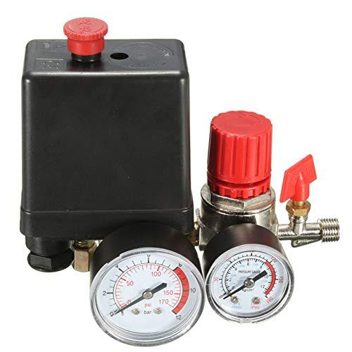 7.25-125 PSI Control del interruptor de presión del compresor de aire pequeño 15A 240V / AC Regulador de aire ajustable Compresor de válvula de cuatro agujeros