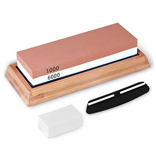 Premium Whetstone Knife Sharpener, Dveda Professional Knife Sharpening Stone Set, 2 Side Grit 1000/6000 Waterstone Sharpening Stone Set with Non-slip Bamboo Base & Angle Guide