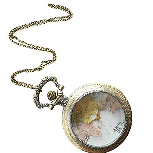 Yililay Mujeres Bolsillo analógico Bolsillo Reloj Mapa patrón Collar Colgante Bolsillo Reloj Bronce Vintage Collar de Bolsillo Reloj de Bolsillo