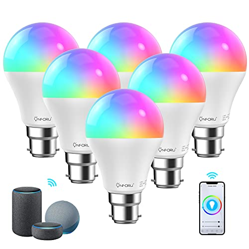 Onforu 6 Pack Smart Bulbs, WiFi LED Alexa Light Bulb, B22 700lm Dimmable RGBW Color Changing Bulb with Music Synchronize, Work with Alexa, Google Home, Remote and Voice Control, No Hub Required