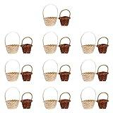 Happyyami 20 Piezas Mini Cestas Tejidas Juguetes con Asas Ovaladas de Chocolate Candy Cestas de Regalo Mini Cestas Tejidas Organizador de Artículos para El Hogar