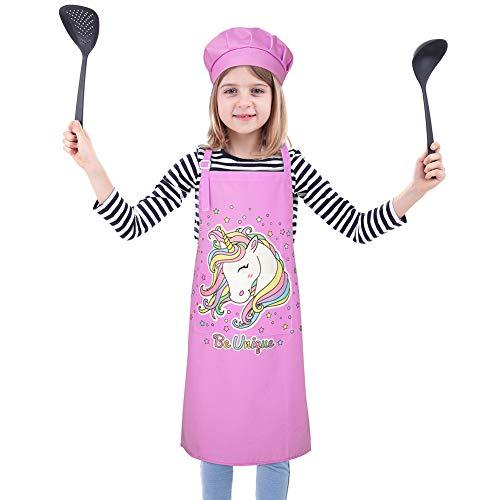 Kinder Schürze Kochmütze Set Mädchen Jungen Küchenschürze Malschürze Bastelschürze Kinderschürze Karikatur mit Tasche zum Bemalen Backen Kochen Garten