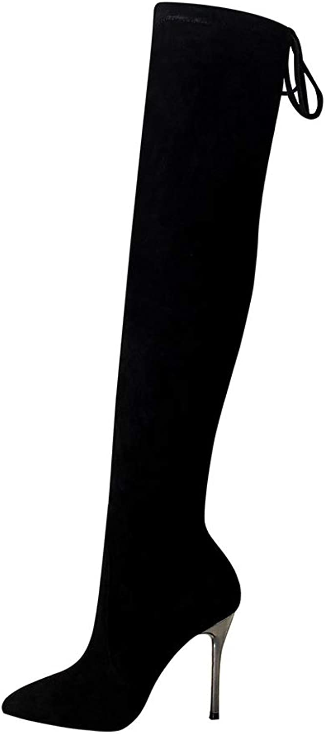 Ladies Women Thigh High Biker Boots  2018 Autumn Winter New Stiletto Simple Super high Heel Suede Pointed Sexy Nightclub was Thin Over The Knee Boot
