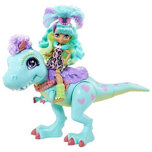 Cave Club Mueca Rockelle con Mascota Dinosaurio Azul, conjunto con accesorios para nios y nias +4 aos (Mattel GTL69)