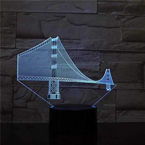 BFMBCHDJ Golden Gate Bridge Art Decoration 3D Lámpara Efecto de luz visual Cambio de color con decoración remota en AliExpress