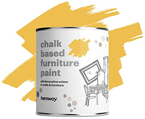 pro tapes chalk paints Hemway Custard Yellow Chalk Based Furniture Paint Matt Finish Wall and Upcycle DIY Home Improvement 1L / 35oz Shabby Chic Vintage Chalky (50+ Colours Available)