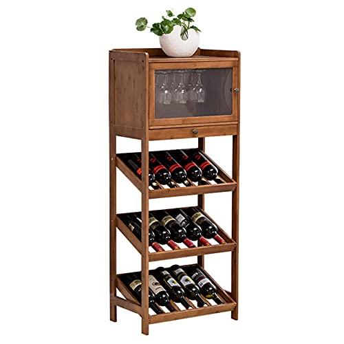 Estante para Vinos Piso Independiente con Puerta Y Cajón Estantes para Almacenamiento De Vino Estantes para Vino De Bambú Soporte para Vidrio Estante para Botellas De Vino para El Hogar,A