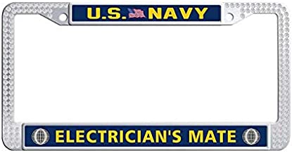 Nuoyizo US Navy Electrician Mate White Bling Rhinestones Auto License Plate Frame Cute Sparkle Crystal Stainless Steel Metal Waterproof Auto License Plate Frame(1 pic, 12.25