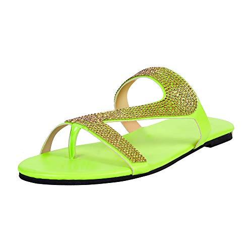 Shujin Damen Mädchen Pantoletten Sommer Flache Schlappen Bequeme mit Strass Glitzer Hausschuhe Rutschfest Badeschuhe Strandschuhe Flip Flops Sandalen