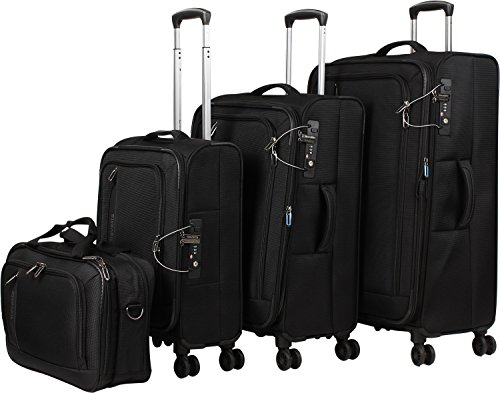 travelite 4-Rad Weichgepäck Koffer Set Größen L/M/S mit TSA Schloss, Handgepäck erfüllt IATA Bordgepäck Maß, Gepäck Serie CROSSLITE: Robuster Trolley im...