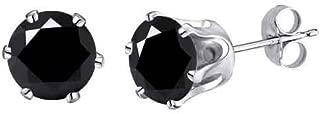 3.80 Ct Genuine Black Moissanite 8mm Stud Earrings (4.00ct Diamond Equivalent)