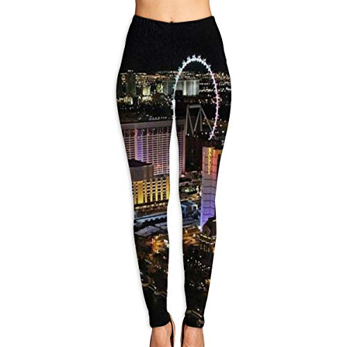Ewtretr Yoga Pilates Hosen Fitnesshose für Damen, Las Vegas Night View Printed Yoga Pants for Women Running Workout Yoga Capris Pants Leggings