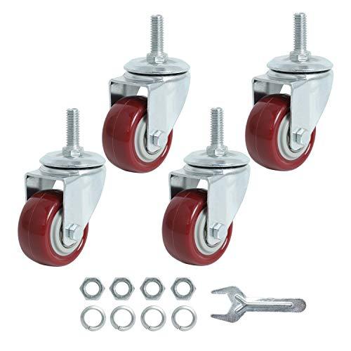Finnhomy Swivel Caster Wheels 2 Inch Heavy Duty Threaded Stem Casters 5/16