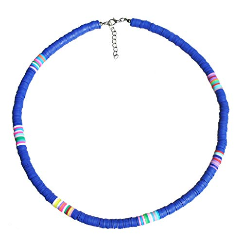 BE YOU TIFUL Collar de Moda, Gargantilla con Cuentas de Arcilla Colorida de Playa Bohemia Collar de Arcilla polimérica arcoíris de Boho - Azul Pavo Real