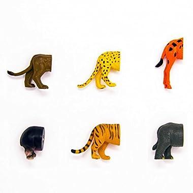 Kikkerland Safari Animal Butt Magnets, Set of 6 (MG23)