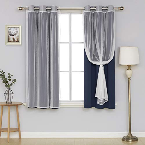 Deconovo Grommet Mix and Match Blackout Navy Blue Set of 2 and 2 Tulle Lace White Sheer Window Thermal Insulated Curtain for Bedroom, 42x63 Inch