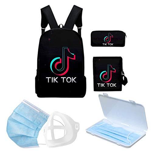 MISS YOU Rucksack Tik Tok Rucksack for Teens Mädchen, enthält Mäppchen und Schultertasche Wasserdicht, Passend for 14-Zoll-Laptop-Rucksack (Color : B)