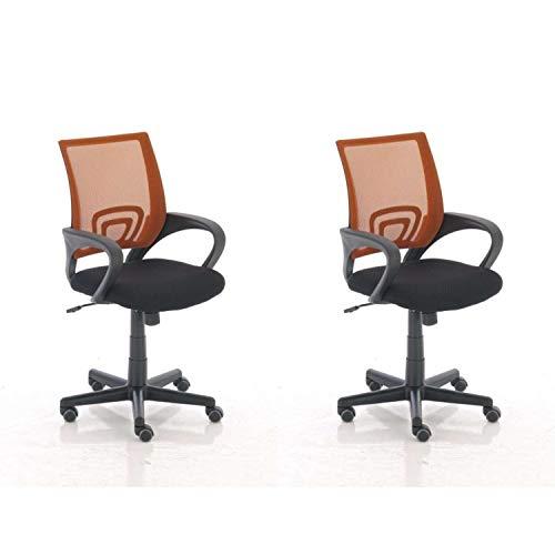 Dynamic24 Genius - Silla de oficina giratoria (2 unidades), color naranja