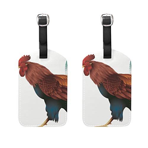 FANTAZIO Etiquetas de Viaje para Equipaje Big Rooster x2
