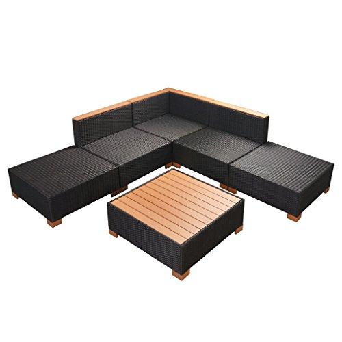 vidaXL Gartenmöbel 6-TLG. Poly Rattan Schwarz Sitzgruppe Lounge Gartenset Sofa - 9