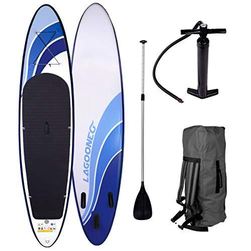 SUP Board Stand up Paddle Paddling Glider 300x76x15cm aufblasbar Alu-Paddel Hochdruck-Pumpe Rucksack Kick-Pad bis 150KG gewebtes Drop Stitch