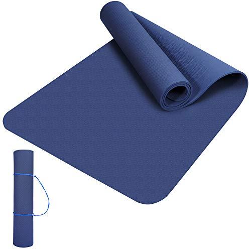Yogamatten Gymnastik Fitness-matten TPE Yoga Mat Mit Einem Seil, Übungsmatte Dünne rutschfeste Yogamatte Outdoor Sportmatte für Pilates,Fitness,Sport und Training Yogamatte 183 x 61 x 0.6 cm Blau