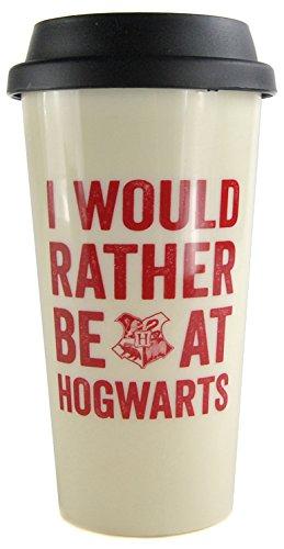 Harry Potter Taza de viaje con el lema de Hogwarts