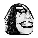 Creepy Halloween Maquillaje Lonchera de neopreno reutilizable portátil bolsa de almuerzo ligera bolsa para el almuerzo para mujeres niñas y hombres niños bolsa de almuerzo bolsas
