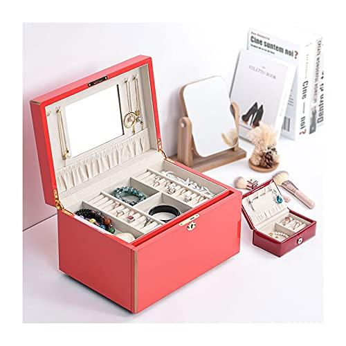 hanxiaoyishop Joyero de madera para mujer, caja de joyería con cerradura con espejo, almacenamiento para reloj, collar, anillo, pulsera, organizador de joyas (color rojo, tamaño: grande)