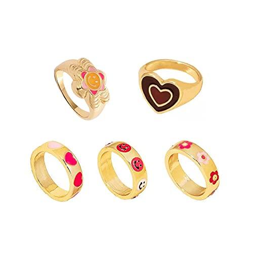 Y2K Rings Cute Rings Flower Smiley Face Rings Gold Heart Rings Indie Rings for Women Girls