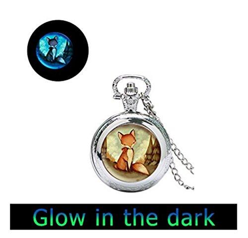 Dtsang Collar de Reloj de Bolsillo con diseño de Zorro Rojo Brillante con Colgante de Zorro, joyería de Zorro, Collar de Animales de Zorro, Arte Animal, joyería para niños
