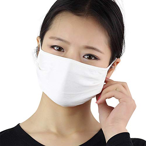 Unisex-Baumwoll-Maske, 3 Stück, doppelschichtig, Seide, atmungsaktiv, antibakteriell, Sonnenschutz, kälte- und staubdicht, Grau, weiß