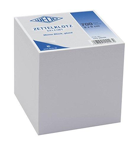 Wedo 27026520 Notiz-Zettelklotz (geleimt holzfrei, 9 x 9 cm, 700 Blatt) weiß