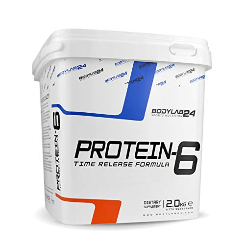 Bodylab24 Protein-6 2kg | Mehrkomponenten Protein-Pulver, Eiweißpulver aus 6 hochwertigen Eiweiß-Quellen | Protein-Shake für Muskelaufbau | Erdbeer