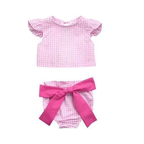 Ropa Bebe Niña Verano Fossen Recien Nacido Cuello Haltar de Estilo Tops y Pantalones con Cintas de pelo (0-6 meses, Azul)