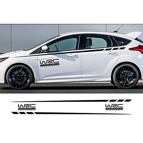 Calcomanías de vinilo para falda lateral de coche, para Ford Focus 2, 3, 1, MK2, MK3, MK1, WRC, adhesivo para puerta de coche, línea de cinturón lateral, falda a rayas, vinilo adhesivo largo colorido