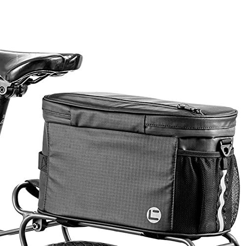 Bolsa para bicicletas Tronc 900D, tela Oxford con cierre deslizante impermeable laminado, borde reflectante, para la mayoría de rieles de bicicleta (34 x 18 x 17 cm)