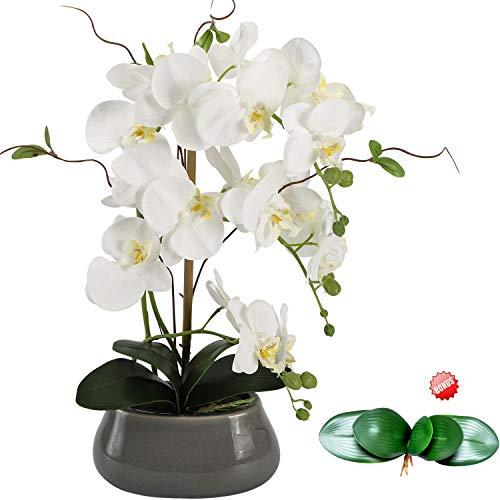 Flores artificiales de orquídea para mesa de comedor con jarrón – orquídea de seda blanca,falsas, arreglos de plantas, decoraciones – Orquídeas florales, arreglo de decoración de interiores