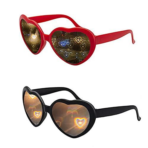 MOPOIN Herz Effekt Brille, 2 Stücke 3D Herz Brille Beugungs Brille für Fasching Musik im Freien Party Bar Feuerwerk ( Schwarz und Rot )